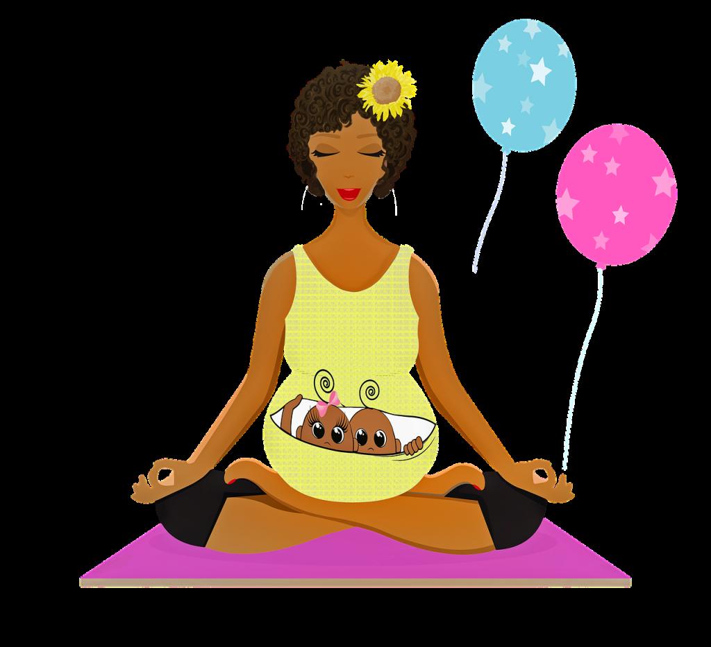 pregnant woman yoga, afro american, pregnant